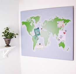 Giant world map noticeboard