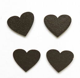 Heart brown magnets pack of four