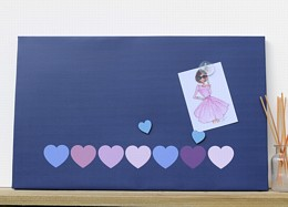 Navy Hearts Magnetic Noticeboard